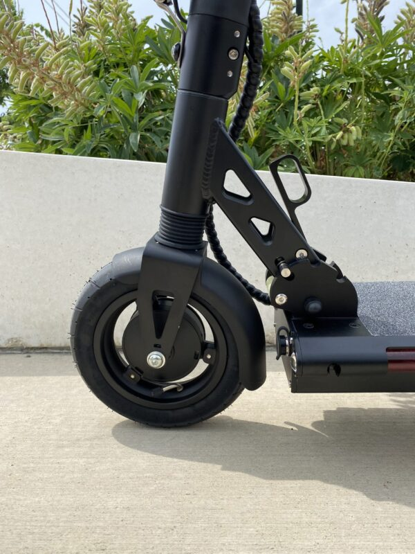 A close up of the X9 E-Scooter's front tire.