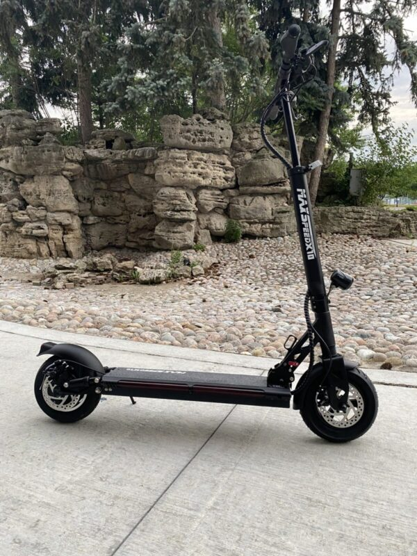 Black Maxspeed X10 E-Scooter from the side.