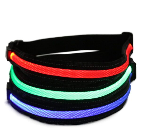 Red, green, and blue LED belts stacked on top of each other.