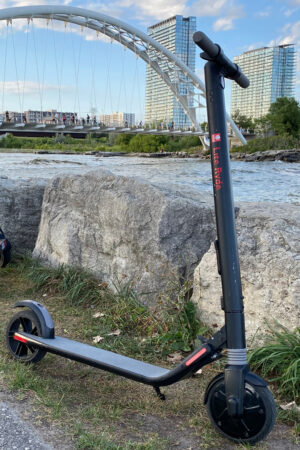 Lite Ryde E-Scooter by the lake.